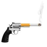 Revolver. With a cigarette. Illustration on white vector illustration