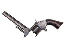 Revolver antique de période de guerre civile sur le blanc Photographie stock