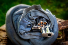 Revolver as evidence of crime Stock Images