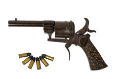 Revolver with bullets Stock Photos