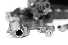 Revolver with bullets close-up isolated on white background / black and white photo in a retro style Royalty Free Stock Photos