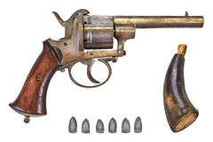 Revolver with bullets and gun powder Stock Images