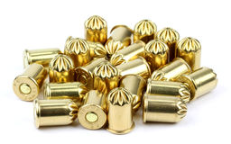 Revolver bullets 9mm on a white background.  Royalty Free Stock Photography
