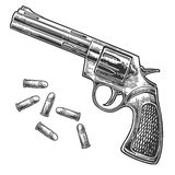Revolver with bullets. Vector engraving vintage illustrations. Isolated on white background. For tattoo, web, shooting club and label royalty free illustration
