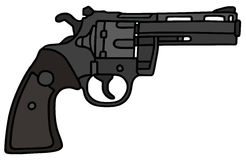 Revolver. Clůassic black revolver, vector illustration, hand drawing Royalty Free Illustration