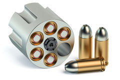 Revolver Cylinder with bullets Stock Photography