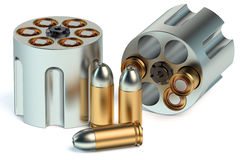Revolver Cylinder with bullets Royalty Free Stock Images