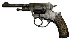 Revolver de pistolet d'isolement sur le fond blanc Le pistolet de vintage rev Photos stock