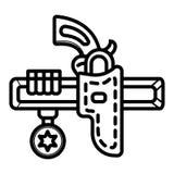 Revolver in der Pistolenhalfterikone lizenzfreie abbildung