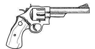 Revolver. Drawing / clip art of a gun or revolver Stock Images
