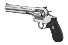 Revolver firearm equipment. Revolver firearm steel cowboy equipment. 3D graphic Royalty Free Stock Photo