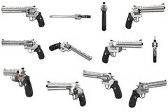 Revolver firearm gun chrome set Stock Photography