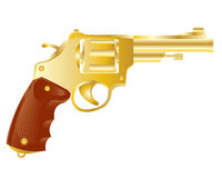 Revolver from gilded metal Royalty Free Stock Images