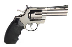 Revolver Gun. Silver revolver on white background Royalty Free Stock Image