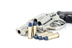 Revolver gun .38 mm and bullets Stock Photo