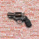 Revolver Gun with background concept of human rights Royalty Free Stock Photography