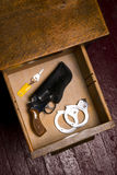 38 Revolver Gun Holster Desk Drawer Key Handcuffs Restraints Stock Photography