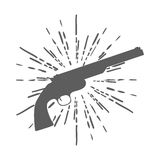 Revolver Gun isolated on white background. Vector Stock Images