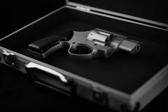 Revolver. Gun in a metal case Stock Photography