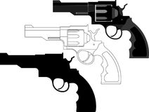 Revolver, gun, weapon - vector illustration. Handgun, revolver, gun, weapon isolated on white background. vector illustration, fully editable, you can change Stock Photography