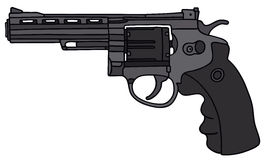Revolver. Hand drawing of a big modern revolver Royalty Free Stock Images
