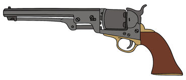 Revolver. Hand drawing of classic Wild West hand gun royalty free illustration