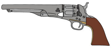 Revolver. Hand drawing of classic Wild West hand gun vector illustration