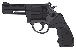Revolver. Hand drawing of a recent revolver Stock Photo