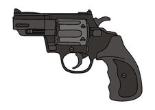 Revolver. Hand drawing of a recent handgun Stock Photography