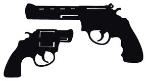 Revolver. Hand drawing of two revolvers Royalty Free Stock Photography
