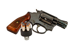 Revolver hand gun. With bullets in speed loader Royalty Free Stock Photography