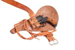 Revolver in a holster Stock Photography