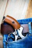 Revolver i facket Royaltyfri Fotografi