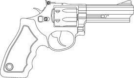 Revolver. Isolated contour revolver on white background Royalty Free Stock Photography