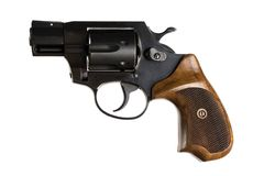 Revolver isolated on a white background. Revolver with a wooden handle on a white background. isolated Royalty Free Stock Photo