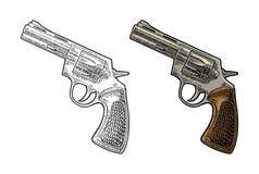 Revolver met korte vat en kogels Vectorgravure uitstekende illustraties vector illustratie