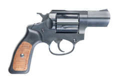 Revolver. Old black revolver with wooden grip Royalty Free Stock Image