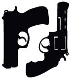 Revolver and pistol. Hand drawing of two handguns Royalty Free Stock Images