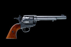 Revolver pistol isolated. On a black background Royalty Free Stock Photo