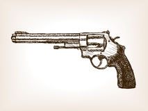 Revolver pistol sketch style vector illustration Stock Photo