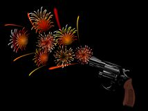 Revolver. And red fireworks on black background Stock Images