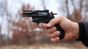 Revolver shooting stock video footage