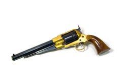 Revolver su priorità bassa bianca. Fotografia Stock