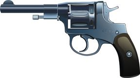 The revolver of system. Vector figure of the revolver, favourite weapon KGB Stock Images