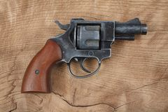 Revolver on the table. Revolver on the wooden table Stock Images