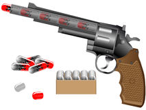 Revolver and tablets. Revolver and harmful pills on puge background Stock Photo