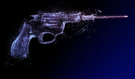 Revolver. water gun. abstract splash. An illustration of a .38 Special revolver firing, created out of water splashes and droplets Stock Images