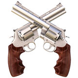 Revolvers. Two crossed revolvers. isolated on white Royalty Free Stock Photography
