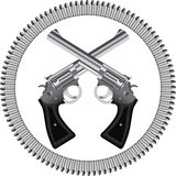 Revolvers and bullets. Two crossed silver revolvers and bullets stock illustration