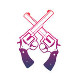 Revolvers, crossed handguns over white Stock Photography